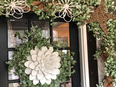 Ways To Decorate Your Front Door - The Shabby Tree Autumn Decorating, Decorating Blogs, Porch Decorating, Porch Garland, Greenery Garland, Glass Front Door, Front Door Decor, Front Porch, Diy Porch