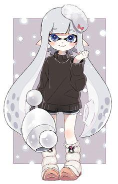 Inkling girl with Luna Blaster Nintendo Splatoon, Splatoon 2 Art, Fanart, Illustration Kawaii, Character Art, Character Design, Manga Games, Kawaii Anime, Cute Art