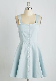Adorable Antics Dress. The picnic wouldnt be nearly as fun without you sporting this pale chambray dress from Spanish brand Kling! #blue #modcloth