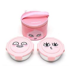 Kakao Friends Stainless Lunch Box 2 Containers Bag Apeach #KakaoFriends