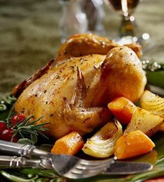 Cornish Game Hen with Roasted Root Veggies: Balsamic vinegar lends a subtly sweet accent to roasted vegetables while garlic and rosemary boost the flavor of the tender, juicy game hen. Roasted Cornish Hen, Cornish Hen Recipe, Cornish Game Hen, Cornish Hens, Roasted Root Vegetables, Root Veggies, Fast Metabolism Diet, Metabolic Diet, Meals For Two