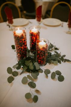 winter rustic wedding ideas---winter Christmas wedding, diy wedding winter centerpieces with berries in the glass with greenery decors. wedding winter Winter Rustic Style Wedding Ideas To Steal Christmas Wedding Decorations, Winter Wedding Centerpieces, Christmas Centerpieces, Centerpiece Ideas, Centerpiece Flowers, Winter Wedding Flowers, Graduation Centerpiece, Red Winter Weddings, Holiday Wedding Ideas