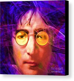 John Lennon Imagine 20160521 Square V3 Canvas Print / Canvas Art by Wingsdomain Art and Photography  wingsdomain celebrity celebrities beatle beatles the beatles beatlemania john lennon lennon imagine strawberry fields brit british band bands guitar guitars guitar player guitar play…