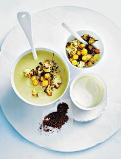 Donna Hay: Roasted cauliflower and chickpea soup Chili Recipes, Soup Recipes, Chickpea Soup, Winter Soups, Roasted Cauliflower, Vegetable Recipes, Healthy Dinner Recipes, Mail Online, Daily Mail