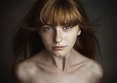 Beautiful portrait by Ageev Dmitry (people, portrait, beautiful, photo, picture, amazing, photography, red hair, haired, freckles, woman, lady, bangs, close-up, topless)