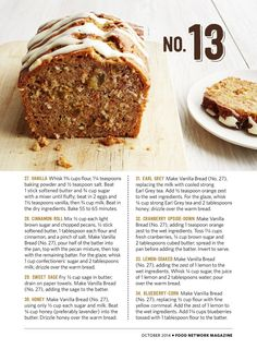 50 Quick Breads Food Network Magazine, Oct 2014, (S12-S13)