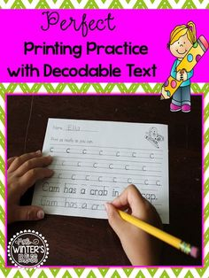 Perfect Printing Practice with Decodable Text (and FREEBIE)