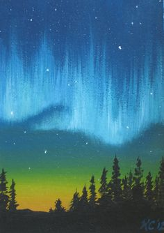 Original Oil Painting ACEONorhtern Lights by MysticMeadowStudio
