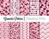 Geometric Digital paper pack Dreamy Pink - Pink, Chevron Instant download printable scrapbook personal and commercial use