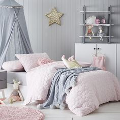 Created from ultra soft cotton jersey, the Princess Jersey quilt cover set is incredibly cosy with a quilted design. With a textured quilted surface front and plain back, its perfect for cuddles all year round. Girl Nursery, Girl Room, Girls Bedroom, Bedroom Ideas, Bedroom Designs, Jersey Quilt, Adairs Kids, Quilt Cover Sets, Duvet