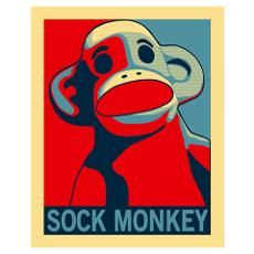 Sock Monkey Hope wall art Poster