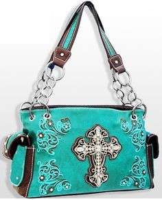 Turquoise Western Cross Purse with Embroidery