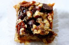 Hello Dolly Bars by Smitten Kitchen. My favorite cookie. I haven't tried them with butterscotch chips and chocolate chips, but it sounds good. Cookie Desserts, Cookie Bars, Just Desserts, Cookie Recipes, Delicious Desserts, Dessert Recipes, Yummy Food, Bar Cookies, Brownie Recipes