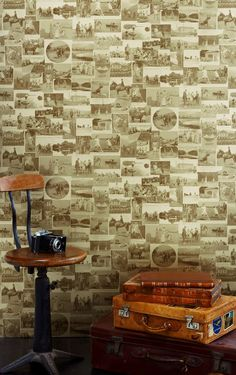 The Other Eden Wallpaper. Wallpaper featuring a collage of nostalgic British scenes – ranging from wartime images to country pursuits – taken from original 19th and 20th century photographs, in sepia with a vintage gold finish. Buy now from wheresaintsgo.co.uk/ for £81.00.