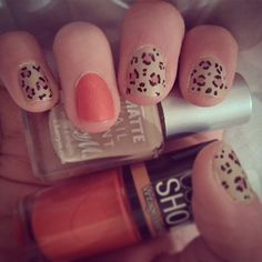 Leopard print and red leather-effect nail polish