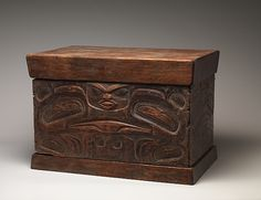 Storage Chest Date: 1780–1820 Geography: United States, Alaska Culture: Tlingit or Tsimshian Medium: Wood, pigment Dimensions: H. 12 3/4 x W. 25 x D.15 3/4 in. (32.4 x 63.5 x 40 cm) Classification: Wood-Sculpture Credit Line: Ralph T. Coe Collection, Gift of Ralph T. Coe Foundation for the Arts, 2011 Accession Number: 2011.154.140