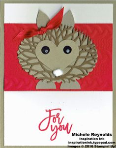 "Handmade punch art card using Stampin' Up! products - Thoughtful Branches Photopolymer Stamp Set, Cable Knit Dynamic Embossing Folder, Layering Ovals Framelits, Beautiful Branches Thinlits, Festive Flower Builder Punch, 3/8"" Stitched Satin Ribbon, Sweetheart Punch, Owl Builder Punch, Chalk Marker, and 3/4"" Circle Punch.  By Michele Reynolds, Inspiration Ink."