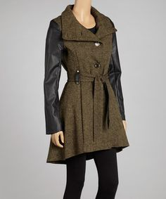Take a look at this Army Green Tweed Faux Leather Panel Funnel Collar Coat - Women by Steve Madden on #zulily today!