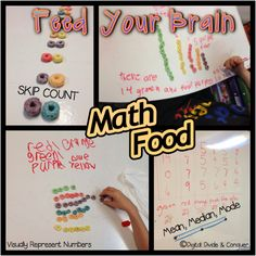 Math Food:  Feed Your Brain!  Using foods in class to teach unlimited concepts!  Then students can eat their work.