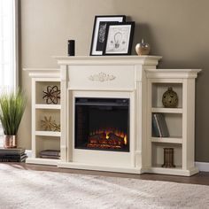 Shop for Gracewood Hollow Chuculate Ivory Bookcase Infrared Electric Fireplace. Get free delivery On EVERYTHING* Overstock - Your Online Home Decor Outlet Store! Get in rewards with Club O! Fireplace Bookshelves, Faux Fireplace, Bookcase Shelves, Fireplace Design, Fireplace Mantels, Fireplace Ideas, Fireplace Remodel, Bedroom Fireplace, Victorian Fireplace