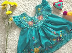 Handmade Mexican Dress Embroidered Teal Green Blue Girl's Dress with Flowers, Frilly Arms and Buttons 6-9m by CALUNICA on Etsy