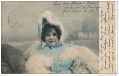 ENFANTS - LITTLE GIRL - MAEDCHEN -  Jolie carte fantaisie portrait fillette emmitouflée sous la neige