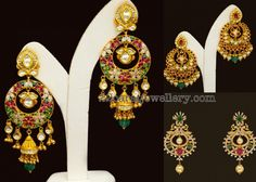 Gold Chandbalis with Drops - Jewellery Designs