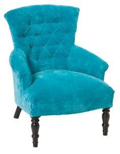 Furniture Online & Decorating Accessories   Velvet Arm Chair, Turquoise   Interiors Online Furniture