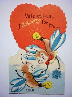Vintage 1950s Valentine's Day Card Anthropomorphic Fireflies Glow Bugs
