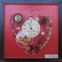 Tableau coeur, collage, décoration 30cm x30cm