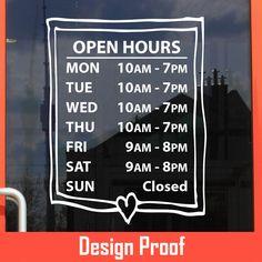 www.bestautodecals.com | 100% Custom Vinyl Lettering | Business Open Hour Sticker / Decal / Sign for Office, Shop, Salon, Store