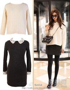 【连衣裙+白毛衣】白色毛衣,两侧小开叉设计感很强,宽松的版型,内搭灰色毛呢连衣裙,内长外短叠穿法,配上黑色裤袜,高跟鞋,尽显完美身材。