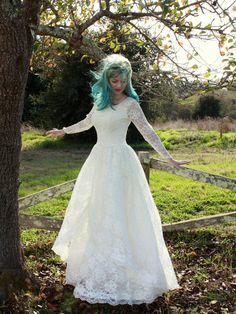 Vintage 1950s Lace Wedding Dress Long Sleeved Princess Bridal Gown M. $245.00, via Etsy.