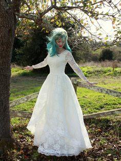 Vintage 1950s Lace Wedding Dress Long Sleeved Princess Bridal Gown M. $245.00, via Etsy.