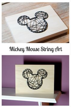This Mickey Mouse String Art is a fun project to make for a Disney loving home! This Mickey Mouse String Art is a fun project to make for a Disney loving home! Wine Bottle Crafts, Mason Jar Crafts, Mason Jar Diy, Deco Disney, Art Disney, Disney String Art, Disney Hall, Disney College, Disney Theme
