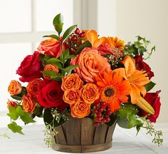Rich red roses, orange roses, orange spray roses, orange gerbera daisies, orange Asiatic Lilies, flame mini calla lilies, red hypericum berries, and an assortment of lush greens are perfectly arranged in a oval stained woodchip basket.