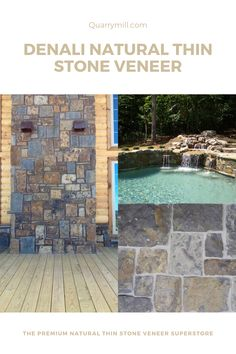 These beautiful outdoor living area with a pool and waterfall and chimney use the Quarry Mill's Denali natural thin stone veneer. #naturalstone #stoneveneer #thinstone #realstone #quarry #freeshipping #poolandspa #pool #waterfall #outdoorliving #dreamhouse #madeinamerica #designinspiration #poollandscapingideas #inspiredbynature #naturalpool #stonesiding #quarrymill #naturalstoneveneer #realstoneveneer #castlerockstone #architecture #designideas #stonedesign #pooldesign Real Stone Veneer, Natural Stone Veneer, Natural Stones, Stone Siding, Castle Rock, Outdoor Living Areas, Pool Landscaping, Made In America, Pool Designs