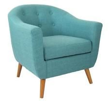 Chair Teal Contemporary Modern MidCentury Retro Style Upholstered Fabric Wood