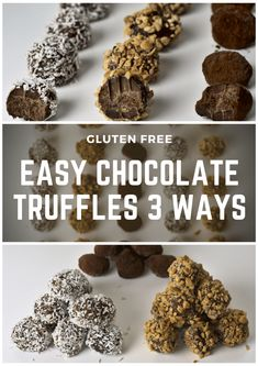 Easy Chocolate Truffles 3 ways! Make these delicious and easy truffles with your own favorite flavors and enjoy vegan goodies anytime! Best Vegan Recipes, Vegetarian Recipes Easy, Whole Food Recipes, Easy Recipes, Chocolate Truffles, Vegan Chocolate, Chocolate Recipes, Low Sugar Desserts, Healthy Desserts