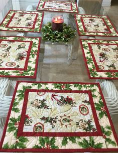 Christmas in july Set of four quilted table placemats Autumn home decor Kitchen tablemats Coffee Table Holiday Quilted Linen candle mats
