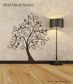 Swirly Tree Wall Decal  Modern Flower Vinyl Sticker by DecalLoft