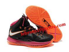 68956a25400 Nike Zoom Lebron 10 Shoes Black Pink Orange Orange Style