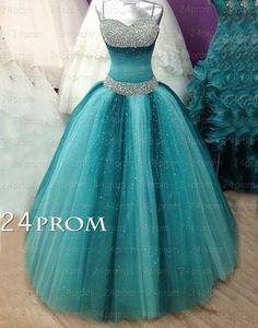 Verde tul largo vestido de gala, Sweet 16 Dress, vestidos de noche 326.00 Dls
