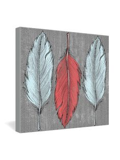 Wesley Bird Feathered Wrapped Canvas by DENY Designs on Gilt Home