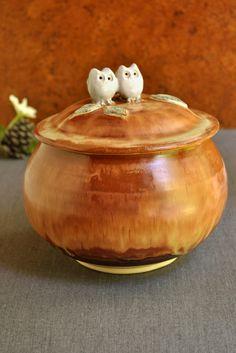 2 Owls ceramic keepsake box from Lee Wolfe Pottery — great wedding gift