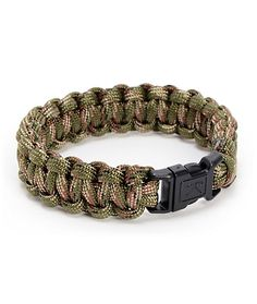 The Rothco Paracord Woodland Camo bracelet has a military look that is as tough as it is comfortable. This soft polyester bracelet is made from military grade parachute chord that can hold over 700lbs of weight, comes in all Woodland Camo colorway, and ha