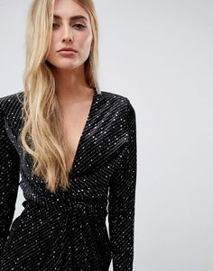 Buy Missguided velvet glitter wrap front mini dress in black at ASOS. Get the latest trends with ASOS now. Black Sparkly Dress, Black Glitter, Ripped Denim, Missguided, Catwalk, Nice Dresses, Fashion Online, Wrap Dress, Asos