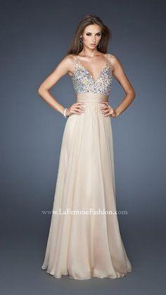 { 18669 | La Femme Fashion 2013 } La Femme Prom Dresses - Nudes & Neutrals - Illusion Straps