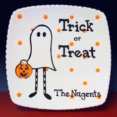 Trick or Treat ceramic candy plate So Cool.  sc 1 st  Pinterest & Hand Painted Fall Decor Plate No Tricks Just by PassthePlate $25.00 ...
