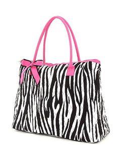 Zebra tote with hot pink trim